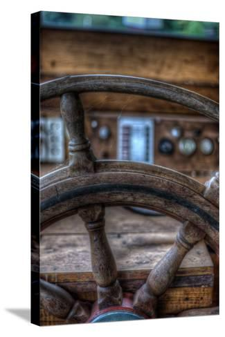 Old Boat Steering Wheel-Nathan Wright-Stretched Canvas Print