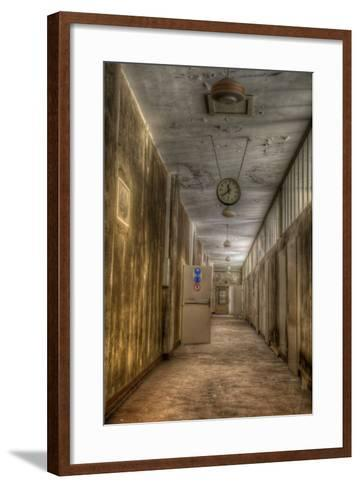 Derelict Interior with Clock-Nathan Wright-Framed Art Print