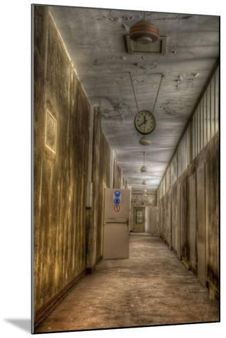Derelict Interior with Clock-Nathan Wright-Mounted Photographic Print
