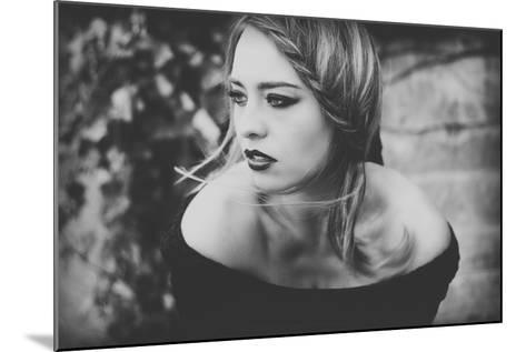 Young Woman Wearing a Black Dress-Sabine Rosch-Mounted Photographic Print