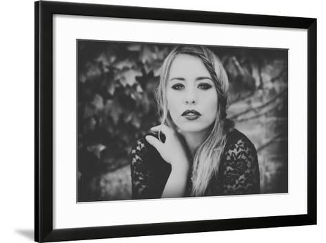 Young Woman Wearing a Black Dress-Sabine Rosch-Framed Art Print