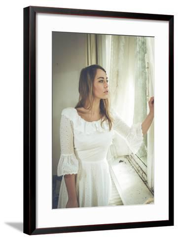 Young Woman Wearing White Dress-Sabine Rosch-Framed Art Print