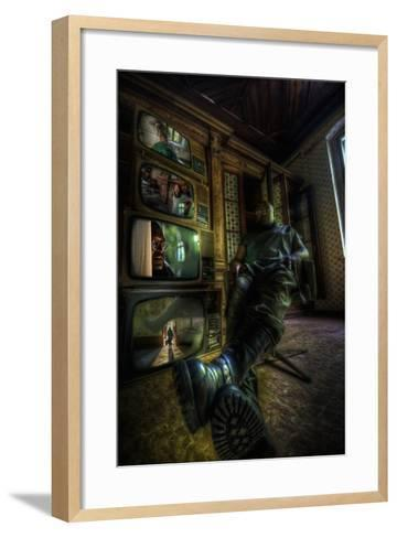 Male Figure in Abandoned Building with Televisions-Nathan Wright-Framed Art Print