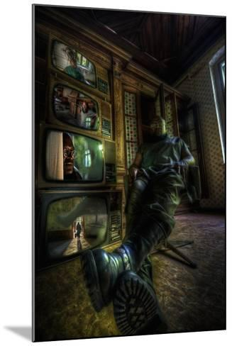 Male Figure in Abandoned Building with Televisions-Nathan Wright-Mounted Photographic Print