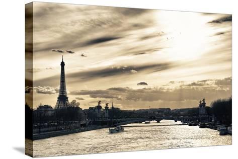 Sunset on the Alexander III Bridge - Eiffel Tower - Paris-Philippe Hugonnard-Stretched Canvas Print
