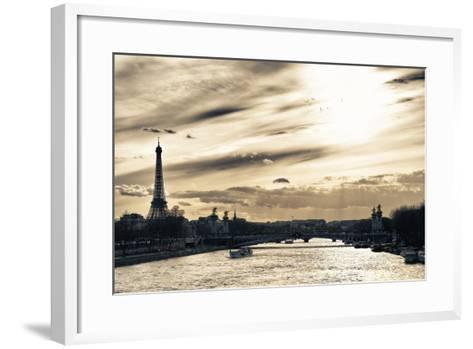Sunset on the Alexander III Bridge - Eiffel Tower - Paris-Philippe Hugonnard-Framed Art Print