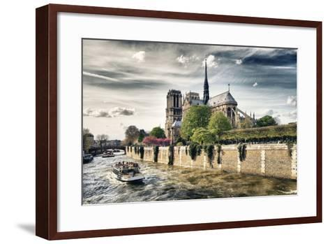 Notre Dame Cathedral - the banks of the Seine in Paris - France-Philippe Hugonnard-Framed Art Print