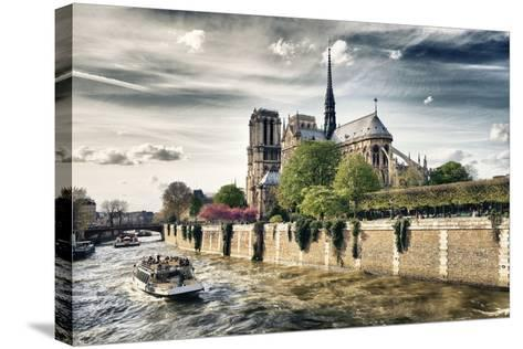 Notre Dame Cathedral - the banks of the Seine in Paris - France-Philippe Hugonnard-Stretched Canvas Print