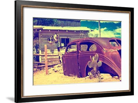 Cars - Route 66 - Gas Station - Arizona - United States-Philippe Hugonnard-Framed Art Print
