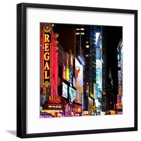 Square View, Urban Scene by Night at Times Square, Buildings by Night, Manhattan, New York, US, USA-Philippe Hugonnard-Framed Art Print