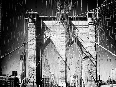 Brooklyn Bridge, Manhattan, New York, White Frame, Full Size Photography-Philippe Hugonnard-Stretched Canvas Print