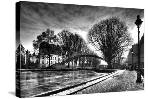 View of the Canal Saint-Martin - Winter -  Paris - France-Philippe Hugonnard-Stretched Canvas Print