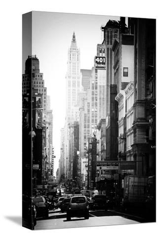 Urban Scene, 401 Broadway, Soho, Manhattan, NYC, White Frame, Old Black and White Photography-Philippe Hugonnard-Stretched Canvas Print