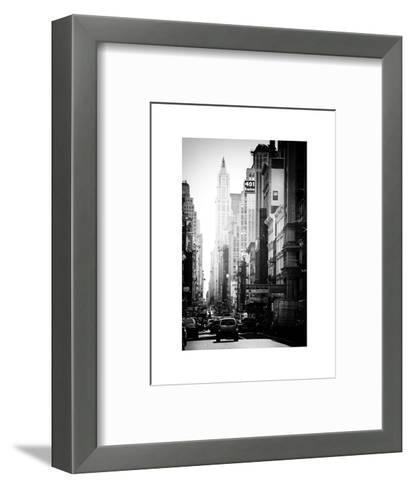 Urban Scene, 401 Broadway, Soho, Manhattan, NYC, White Frame, Old Black and White Photography-Philippe Hugonnard-Framed Art Print