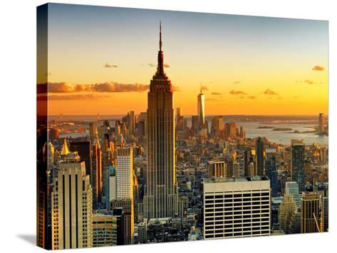 Sunset Skyscraper Landscape, Empire State Building and One World Trade Center, Manhattan, New York-Philippe Hugonnard-Stretched Canvas Print