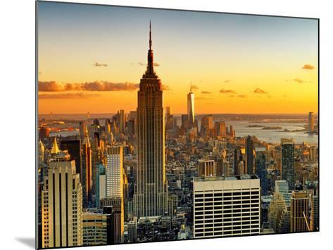 Sunset Skyscraper Landscape, Empire State Building and One World Trade Center, Manhattan, New York-Philippe Hugonnard-Mounted Photographic Print
