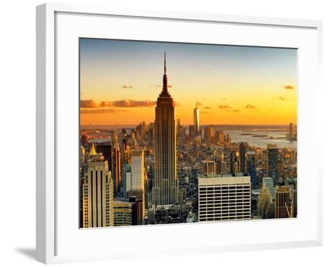Sunset Skyscraper Landscape, Empire State Building and One World Trade Center, Manhattan, New York-Philippe Hugonnard-Framed Art Print