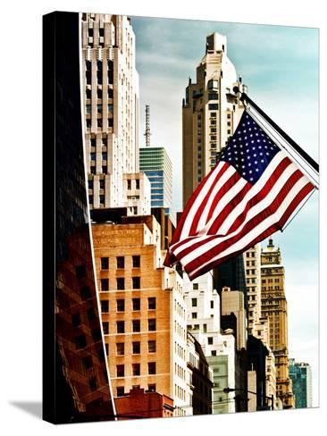 Architecture and Buildings, Skyscrapers View, American Flag, Midtown Manhattan, NYC, US, USA-Philippe Hugonnard-Stretched Canvas Print