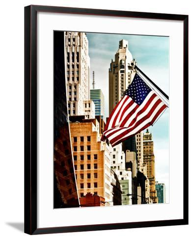 Architecture and Buildings, Skyscrapers View, American Flag, Midtown Manhattan, NYC, US, USA-Philippe Hugonnard-Framed Art Print