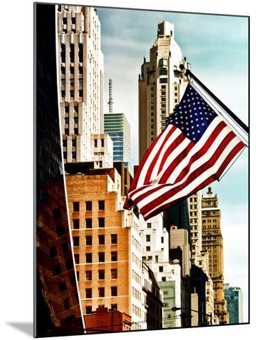 Architecture and Buildings, Skyscrapers View, American Flag, Midtown Manhattan, NYC, US, USA-Philippe Hugonnard-Mounted Photographic Print