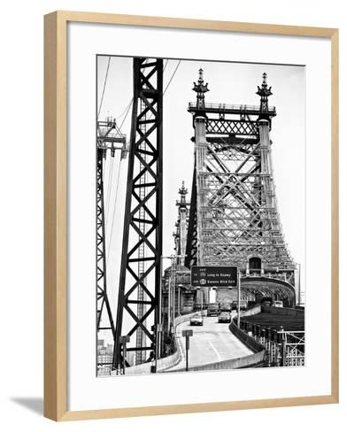 "Road Traffic Exit on ""59th Street Bridge"" (Queensboro Bridge), Manhattan Downtown, NYC-Philippe Hugonnard-Framed Art Print"