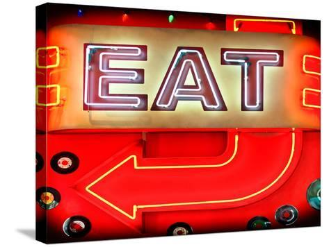 """Retail Signage """"Eat"""", Restaurant Sign, New York, USA-Philippe Hugonnard-Stretched Canvas Print"""