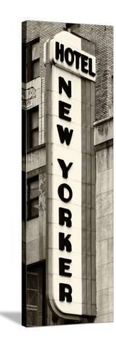 Hotel New Yorker, Signboard, Manhattan, New York, US, Vertical Panoramic View, Sepia Photography-Philippe Hugonnard-Stretched Canvas Print