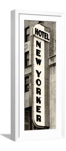 Hotel New Yorker, Signboard, Manhattan, New York, US, Vertical Panoramic View, Sepia Photography-Philippe Hugonnard-Framed Art Print