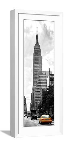Urban Scene, Yellow Cab and Empire State Buildings View, Midtown Manhattan, NYC-Philippe Hugonnard-Framed Art Print