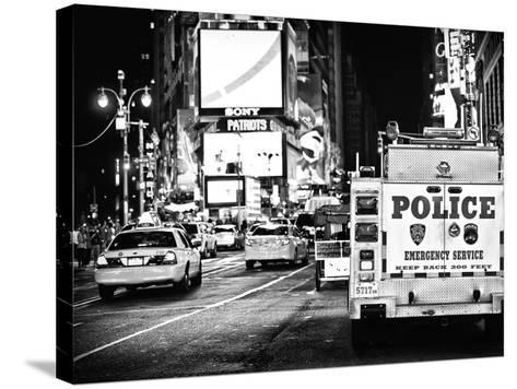 Yellow Cabs and Police Truck at Times Square by Night, Manhattan, New York-Philippe Hugonnard-Stretched Canvas Print