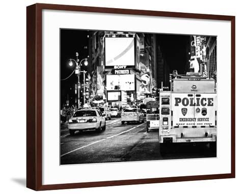Yellow Cabs and Police Truck at Times Square by Night, Manhattan, New York-Philippe Hugonnard-Framed Art Print