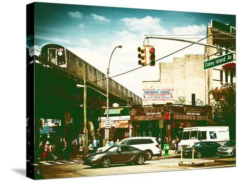 Urban Scene, Coney Island Av and Subway Station, Brooklyn, Ny, US, USA, Vintage Color Photography-Philippe Hugonnard-Stretched Canvas Print