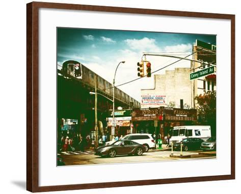 Urban Scene, Coney Island Av and Subway Station, Brooklyn, Ny, US, USA, Vintage Color Photography-Philippe Hugonnard-Framed Art Print