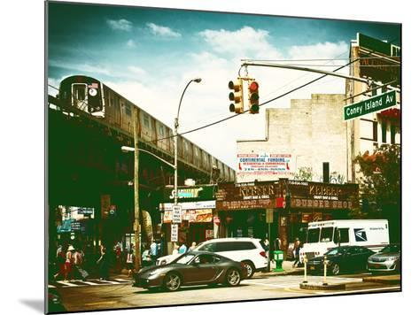 Urban Scene, Coney Island Av and Subway Station, Brooklyn, Ny, US, USA, Vintage Color Photography-Philippe Hugonnard-Mounted Photographic Print