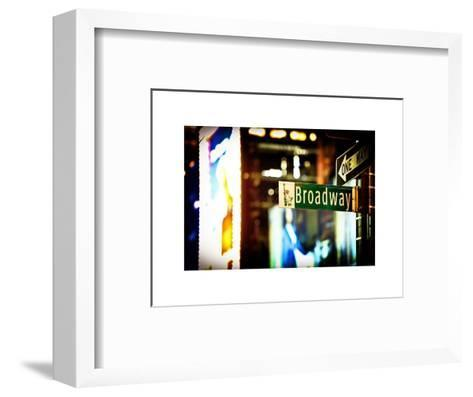Urban Sign, Broadway Sign at Times Square by Night, Manhattan, New York, White Frame-Philippe Hugonnard-Framed Art Print