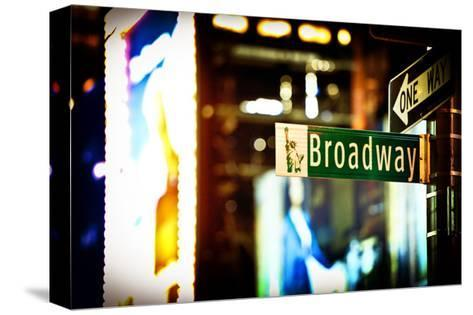 Urban Sign, Broadway Sign at Times Square by Night, Manhattan, New York, White Frame-Philippe Hugonnard-Stretched Canvas Print