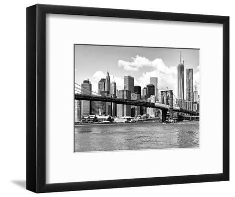 Skyline of NYC with One World Trade Center and East River, Manhattan and Brooklyn Bridge-Philippe Hugonnard-Framed Art Print