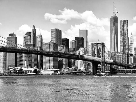 Skyline of NYC with One World Trade Center and East River, Manhattan and Brooklyn Bridge-Philippe Hugonnard-Stretched Canvas Print