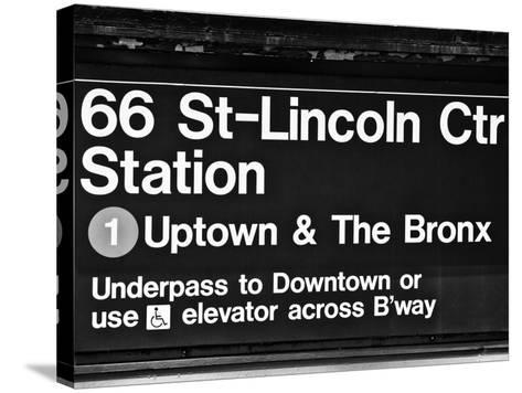 Subway Sign at Times Square, 66 Street Lincoln Station, Manhattan, NYCa-Philippe Hugonnard-Stretched Canvas Print