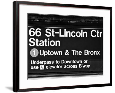 Subway Sign at Times Square, 66 Street Lincoln Station, Manhattan, NYCa-Philippe Hugonnard-Framed Art Print