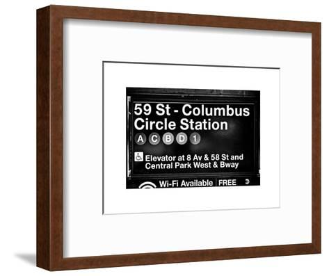 Subway Station Signs, 59 Street Columbus Circle Station, Manhattan, NYC, White Frame-Philippe Hugonnard-Framed Art Print