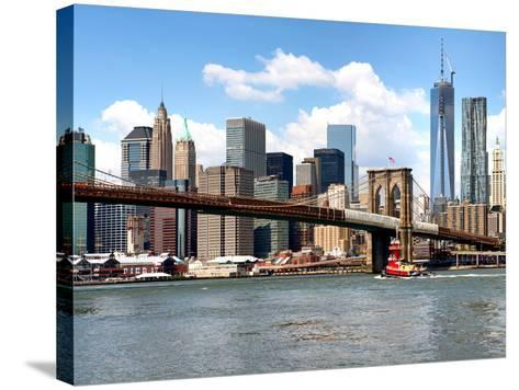 Skyline of NYC with One World Trade Center and East River, Manhattan and Brooklyn Bridge, US-Philippe Hugonnard-Stretched Canvas Print