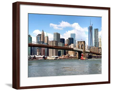 Skyline of NYC with One World Trade Center and East River, Manhattan and Brooklyn Bridge, US-Philippe Hugonnard-Framed Art Print