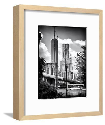 Brooklyn Bridge View with One World Trade Center, Black and White Photography, Manhattan, NYC, US-Philippe Hugonnard-Framed Art Print