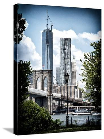 Brooklyn Bridge View with One World Trade Center, Vintique Colors, Manhattan, New York City, US-Philippe Hugonnard-Stretched Canvas Print