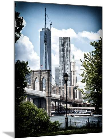 Brooklyn Bridge View with One World Trade Center, Vintique Colors, Manhattan, New York City, US-Philippe Hugonnard-Mounted Photographic Print