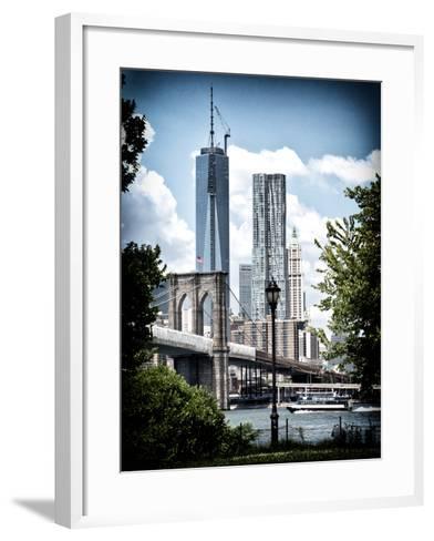 Brooklyn Bridge View with One World Trade Center, Vintique Colors, Manhattan, New York City, US-Philippe Hugonnard-Framed Art Print