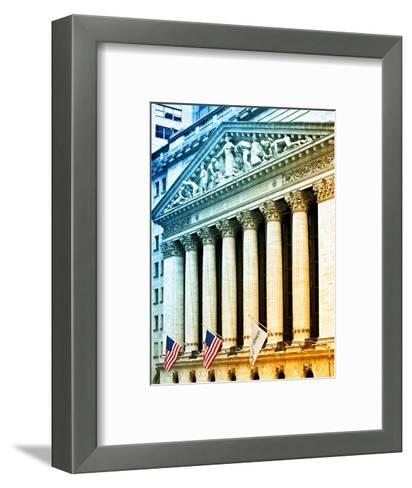 The New York Stock Exchange Building, Wall Street, Manhattan, NYC, White Frame, Colors Photography-Philippe Hugonnard-Framed Art Print
