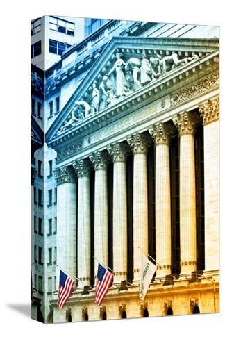The New York Stock Exchange Building, Wall Street, Manhattan, NYC, White Frame, Colors Photography-Philippe Hugonnard-Stretched Canvas Print