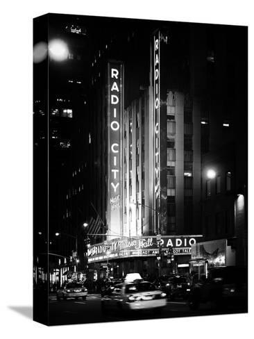 Radio City Music Hall and Yellow Cab by Night, Manhattan, Times Square, NYC, Old Classic-Philippe Hugonnard-Stretched Canvas Print